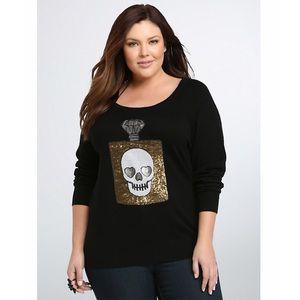 [torrid] Black Sequin Skull Sweater